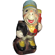 "1940 's  6"" Jiminy Cricket Disney Bank Free P&I US Buyers"