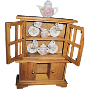 Adorable Miniature  China Cupboard to adorn a dollhouse Free P&I US Buyers