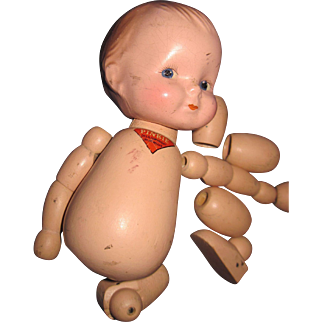 Awesome Wood Jointed Pinkie doll for Restoration Free P&I US Buyers