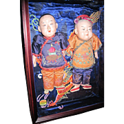 "2 Beautiful 12""  Asian dolls in  Shadow Box  Free P&I US Buyers"