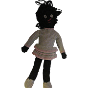 "Sweet 14"" Black Americanna Knit Doll Free P&I US Buyers"