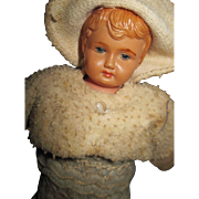 "8"" Celluloid & ClothBaby Rattle  Doll Free P&I US Buyers"