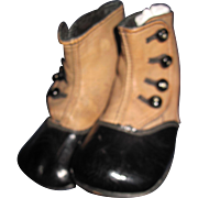 Awesome Brown & Black High Button Baby Doll Shoes Free P&I US Buyers