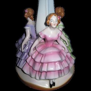 Beautiful Bavrian 3 Ladies Lamp base Free P&I US BUYERS