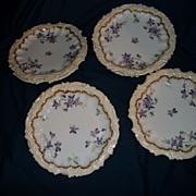 """Eight  Antique T V Limoges France Violets & Gold 7"""" Plates  Free P&I"""
