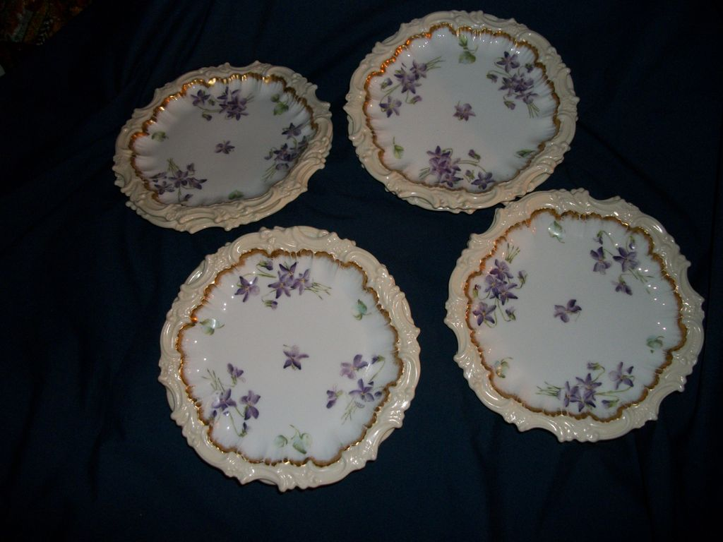 "Eight  Antique T V Limoges France Violets & Gold 7"" Plates  Free P&I"