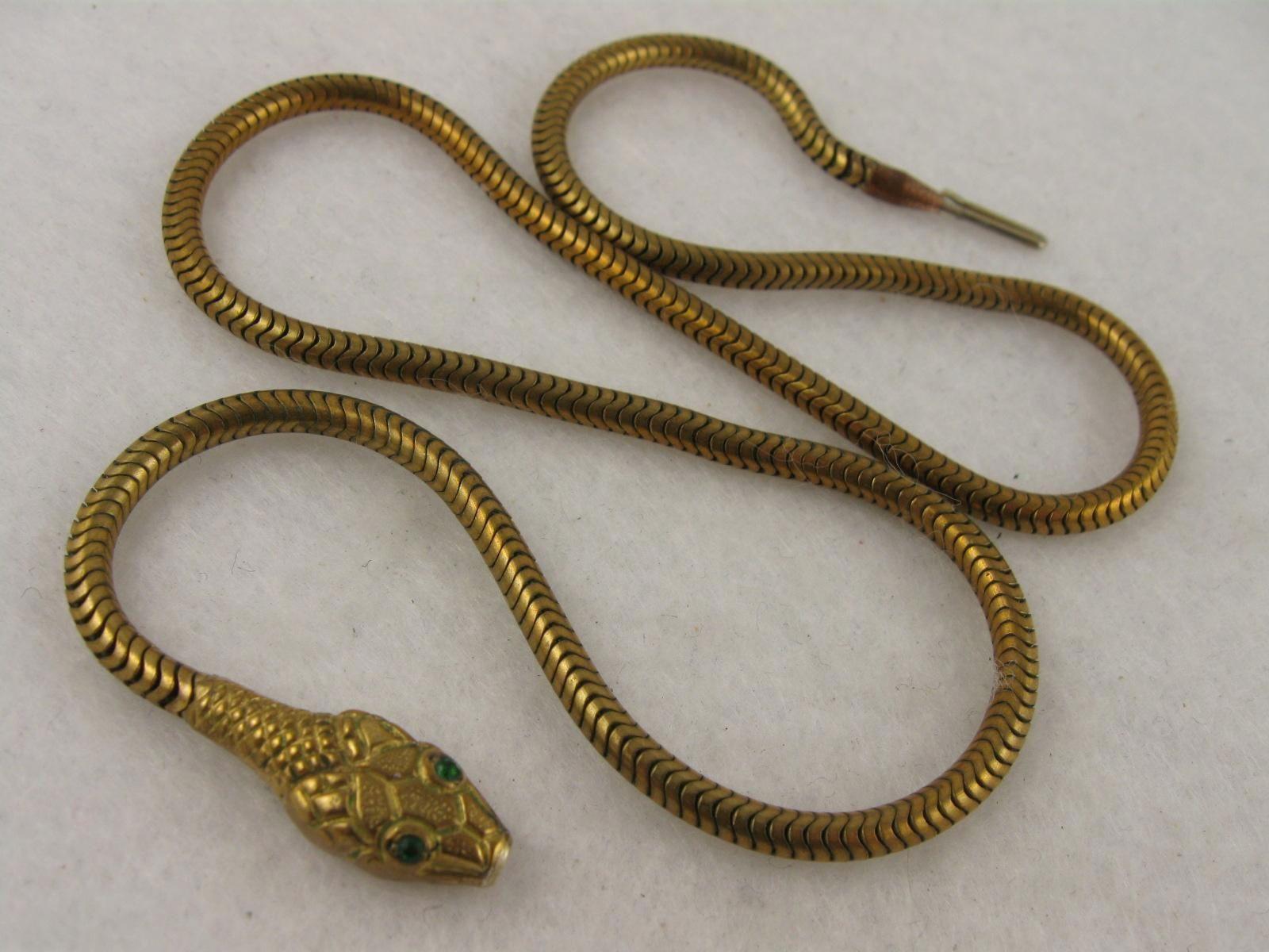antique snake collar necklace emerald paste