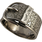 Antique Victorian Silver Engraved Buckle Bangle, Novel Fastener - Full English Hallmarks