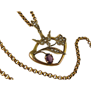"Antique Victorian 9K 'Swallow Bringing Flower"" Amethyst, Pearl Pendant Necklace Set"