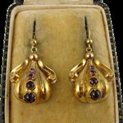 Antique Victorian Large 15K Gold Garnet 'Rococo' Earrings