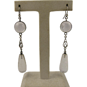 Antique Art Deco 'Pools of Light' Silver & Rock Crystal Long Earrings