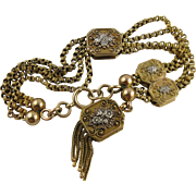 Superior Antique 1800s French Heavy 18K Bi-Colour Gold Bracelet with Locket Charm