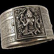 Unusual Antique Victorian Silver Anglo-Indian 'Secret Locket' Bangle