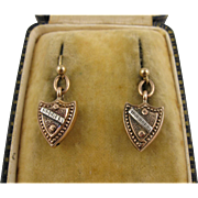 Antique Victorian 9K Rose Gold & Silver Shield Earrings