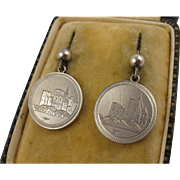 Unusual Antique Victorian Silver 'Castle on the Coast' Engraved Earrings