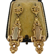 Big Antique 1800s Victorian Long 14K Gold Scroll Earrings