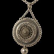 Antique Victorian Silver Ornate Etruscan Locket Pendant - Rare Kitemark Hallmark