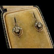 Antique French Art Deco 9K Paste Dormeuse Earrings
