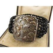 Stunning Antique 1800s Japanese Meiji Era Shakudo Statement Clasp Bracelet - Silver, Onyx, Gold