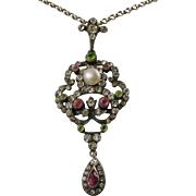 Antique Edwardian Silver & Pink, Green, White Paste Lavalier Pendant - Suffragette