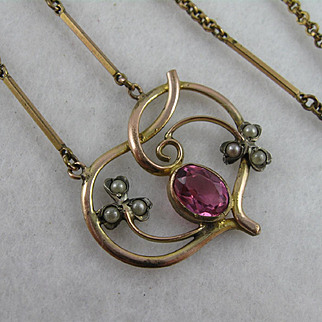 Beautiful Antique Victorian Art Nouveau 'Clover Heart' Necklace - Gold Fill, Pearl, Pink Stone