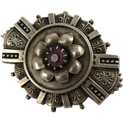 Antique Victorian Silver Ornate Flower Pin / Brooch, Purple Stone
