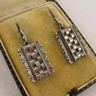 Antique Victorian Unusual Boxy Silver Beaded Earrings, Large Square/Rectangular
