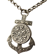 Unusual Antique Victorian Engraved 'Anchor' Locket Pendant - Silver Plated