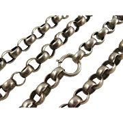 Antique Victorian Chunky Round Link Silver Belcher Chain Necklace, 19 Inch, Big