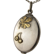 Antique 1800s French Silver & Gold 'Horse Chestnut' Large Slide Mirror Locket Pendant Plant Flower Leaf