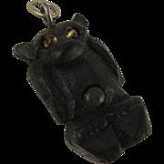 Unusual Antique Victorian Carved Black Bog Oak 'Bat' Stanhope Charm, Small Pendant