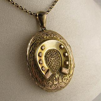 Antique Victorian 9K Gold Large Horseshoe Locket Pendant