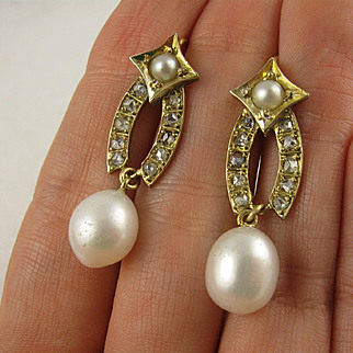 Antique Victorian 15K Gold, Diamond 'Shooting Star' Large Pearl Earrings, Long