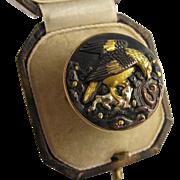 Unique Large Antique 1800s Japanese Meiji Shakudo 'Eagle & Monkey' Statement Ring
