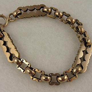 Big Striking Antique Victorian Chunky 9K Rose Gold Bracelet