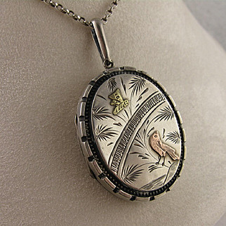 Antique Victorian Silver & 9ct Two Color Rose & Yellow Gold 'Bird & Insect' Locket, Aesthetic Movement