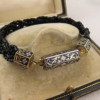 Antique Victorian 12K Gold Enamel Clasp Black Bead Bracelet