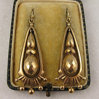Big Striking Antique Victorian 9K Gold Long Earrings, Faceted, Dangly