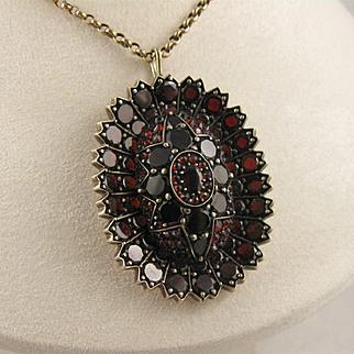 Beautiful Antique Victorian Bohemian Garnet Flower Locket Pendant, Large, Unusual