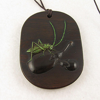 Antique Japanese 1800s Meiji 'Grasshopper' Carved Treen Wooden Large Pendant Necklace, Unusual