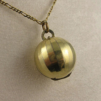 Unusual Antique Edwardian 'Orb' Ball Double Deco Locket, 14K Rolled Gold