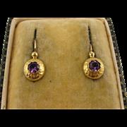Antique French 1800s 18K Gold & Amethyst Round Sleeper Flower Dormeuse Earrings, Small