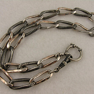 Antique 1800s French Heavy Niello Enamel Chain Necklace, Big Bolt Clasp