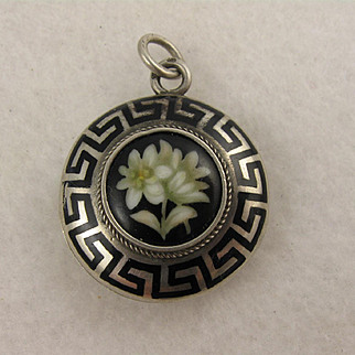Antique 1800s French Silver Enamel Flowers Mourning Locket Pendant, Black Greek Key Design, Victorian