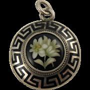 Antique 1800s French Silver Enamel Flowers Mourning Locket Pendant, Black Greek Key Design, Victorian
