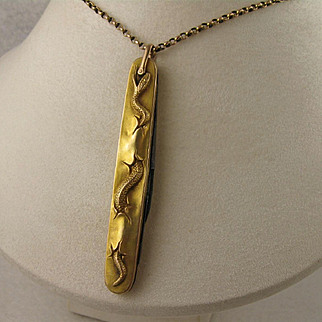 Unusual Antique 1800s Victorian 15K Gold 'Threading Snake' Penknife Statement Pendant, Large