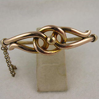 Antique Victorian Lover's Knot Pinchbeck Gold Bangle Bracelet