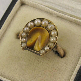 Unusual Antique Victorian 12K Gold Lucky Horse Shoe Ring - Pearl, Tigers Eye, Horseshoe Hoof