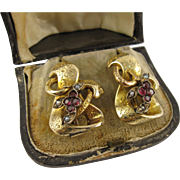 Big Antique 1800s Victorian 15K Gold Garnet Earrings, Large, Heavy, Original Box - French