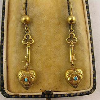 Antique 9K Gold Victorian 'Key To My Heart' Long Dangly Earrings, Turquoise Flowers, Unusual